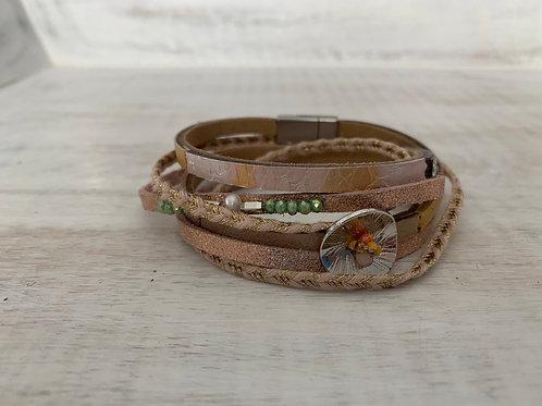 Lauren Michael Pink and Gold Wrap Bracelet