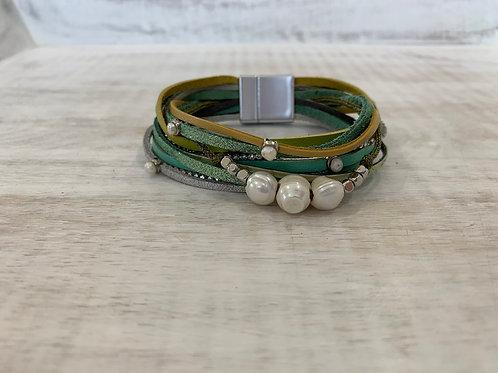 Lauren Michael Green Stacked Bracelet