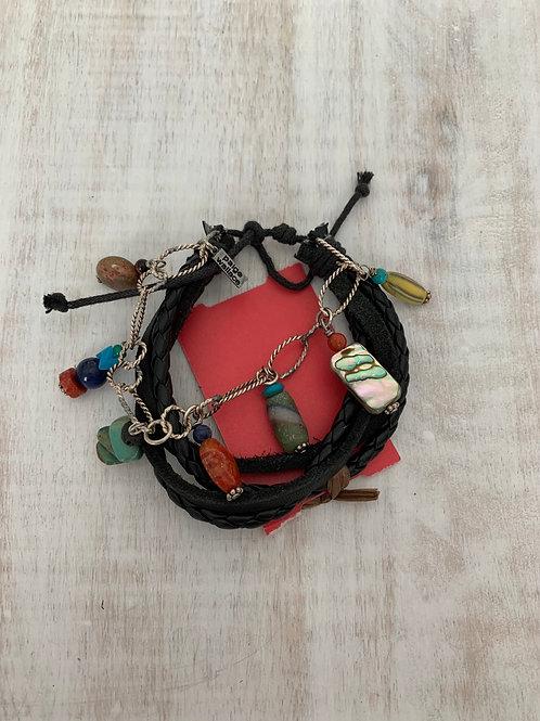 Black Leather Chain Multi Stone Dangle Bracelet