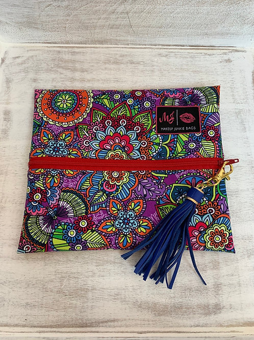 Makeup Junkie Bags Turnkey Drop Colorful Doodle Red Zipper Small