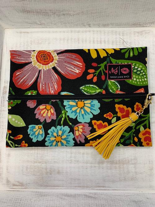 Makeup Junkie Bags Black Floral Medium
