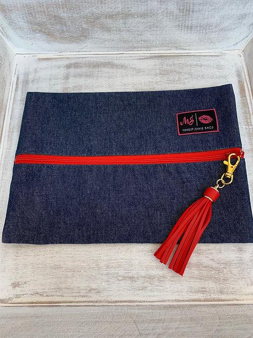 Makeup Junkie Bags Destash Denim Red Zipper Medium