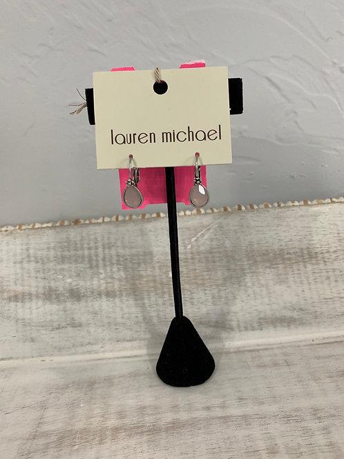 Lauren Michael Silver Pink Gem Earrings Flower Frame