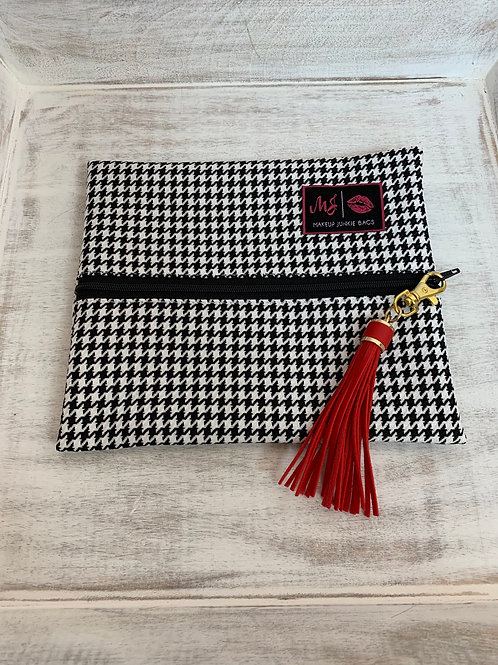 Makeup Junkie Bags White Houndstooth Small