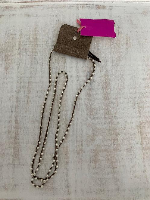 Lucky Lou Crochet Wrap Bracelet Pearl