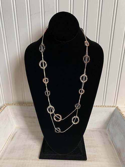 Lauren Michael Silver and Rose Gold Circle Pendant Necklace
