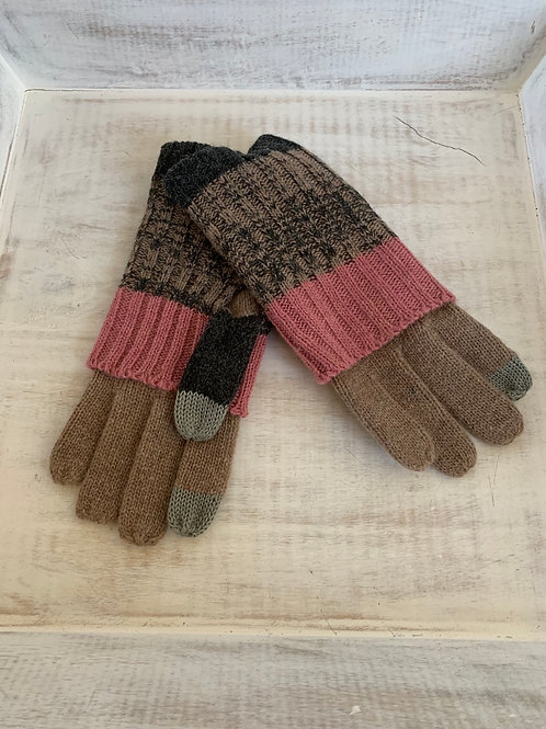 Tickled Pink Striped Knit Texting Gloves