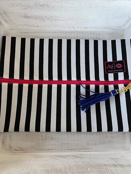 Makeup Junkie Bags Glam Stripe Pink Zipper Large