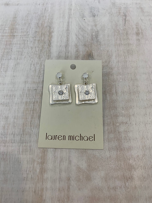 Lauren Michael Silver Layered Square with Gem Earrings
