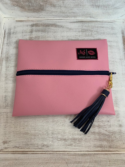 Makeup Junkie Bags Baby Pink Navy Zipper Small
