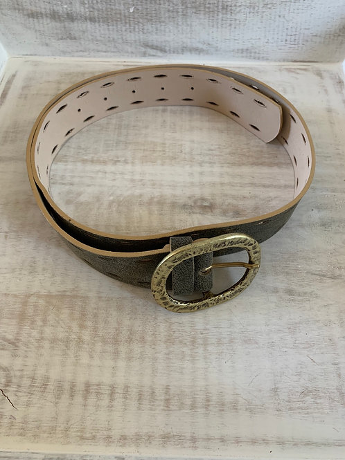 Leatherrock Olive Belt with Oval Shaped Cutouts