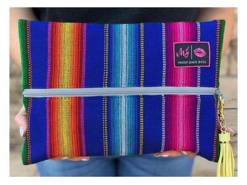 Makeup Junkie Bags OSO Serape Blue Mini