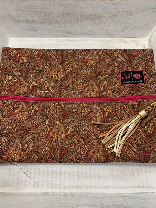 Makeup Junkie Bags Paisley Cork Pink Zipper Large