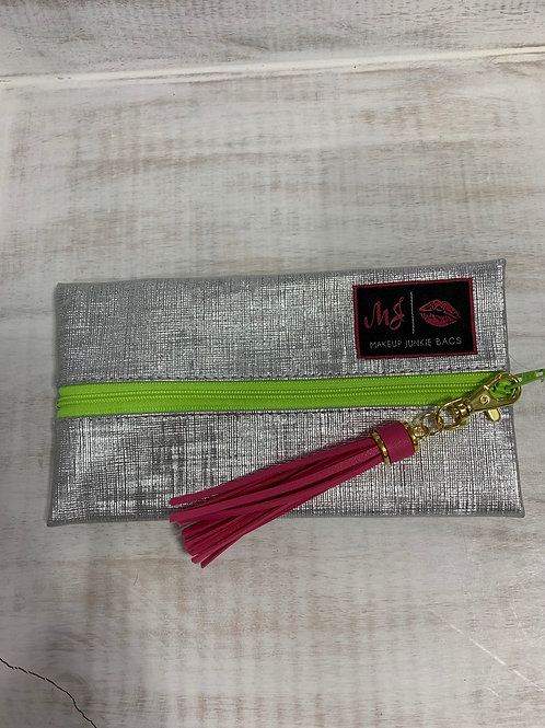 Makeup Junkie Bags Silver Lining Green Zipper Mini