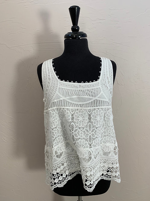 Charlie Paige White Lace Tank Top