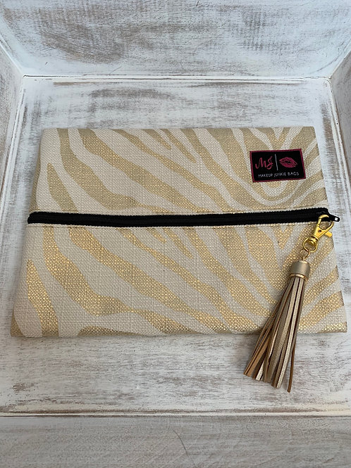 Makeup Junkie Bags Destash Gold Zebra Medium