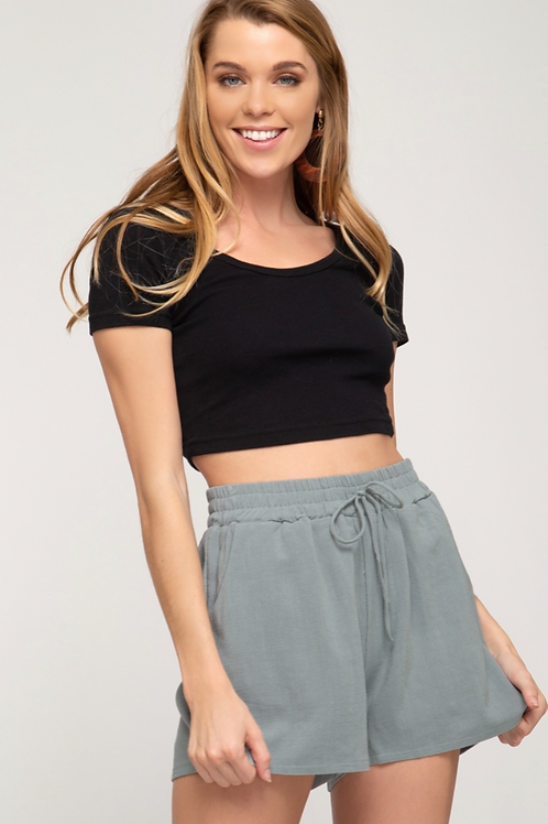 She and Sky Slate Elastic Shorts