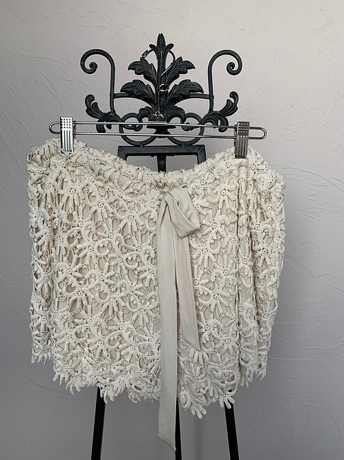 Union of Angels Crochet Cream Shorts
