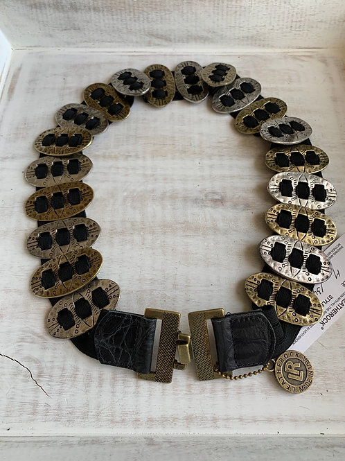 Leatherrock Oval Metal Ornament Belt