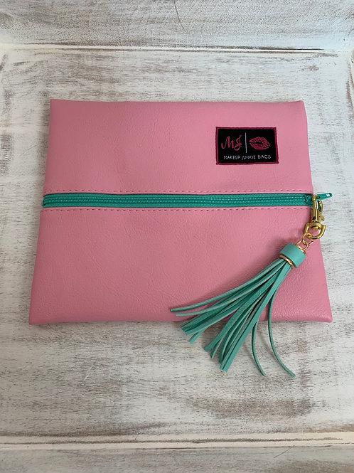 Makeup Junkie Bags Baby Pink Mint Zipper Small