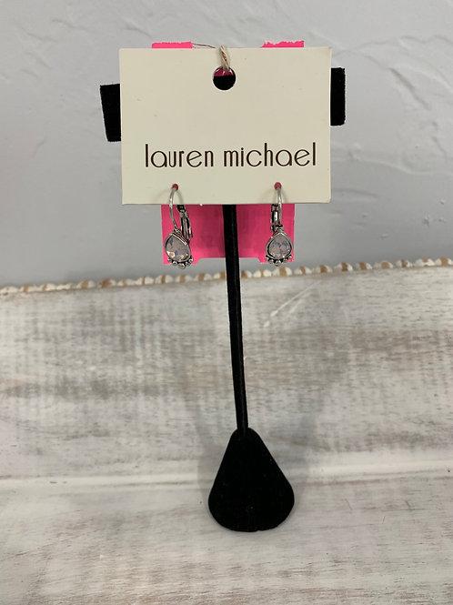 Lauren Michael Silver Pink Gem Earrings Teardrop