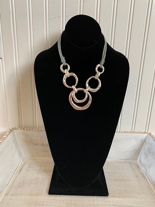 Lauren Michael Statement Necklace Slate Cord Circles