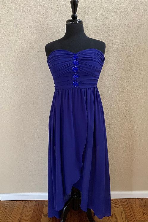 YA High- Low Tube Dress Blue