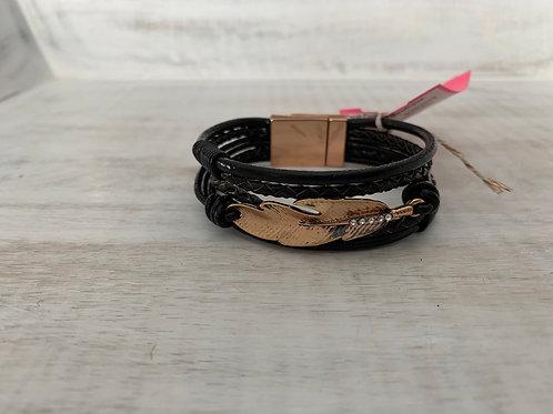 Lauren Michael Black Cord Layered Rose Gold Feather Bracelet