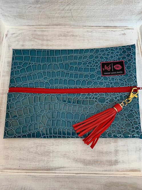 Makeup Junkie Bags Turnkey Drop Ocean Gator Red Zipper Medium