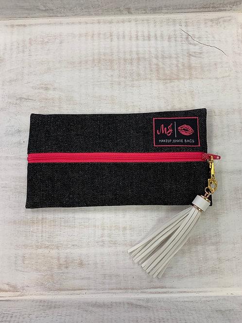 Makeup Junkie Bags Slate Denim Pink Zipper Mini