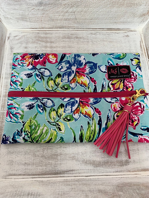 Makeup Junkie Bags Destash Hawaiian Flowers Pink Zipper Medium