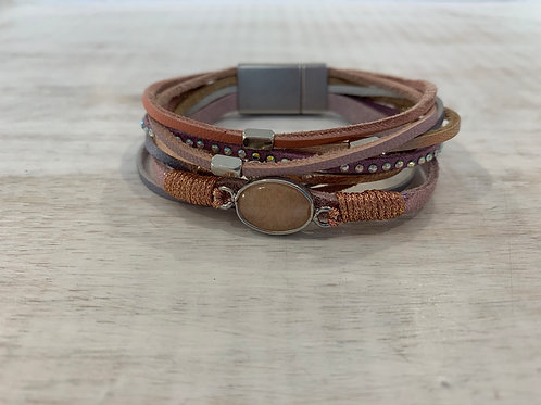Lauren Michael Pink Leather Stack Bracelet