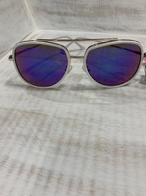 White Frame Sunglasses Blue Lens