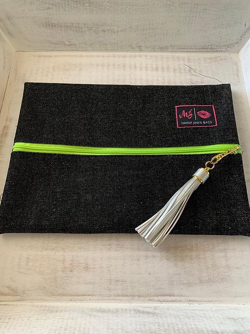 Makeup Junkie Bags Destash Slate Denim Green Zipper Medium