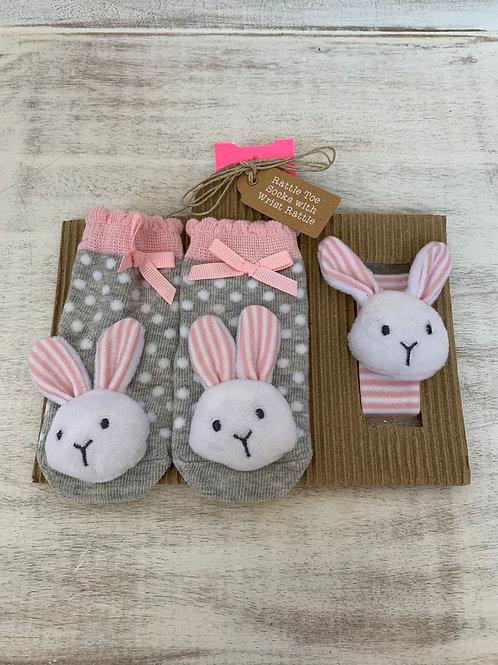 Mud Pie Pink Bunny Wrist Rattle Set