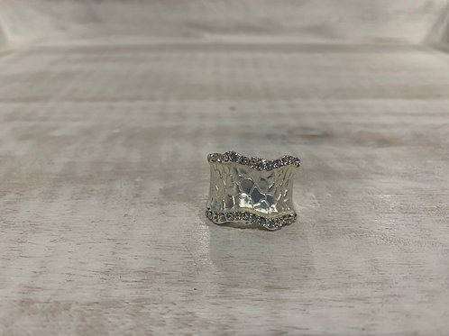Lauren Michael Silver Crystal Encrusted Ring