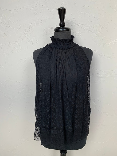 She and Sky Sleeveless Mock Neck Lace Top