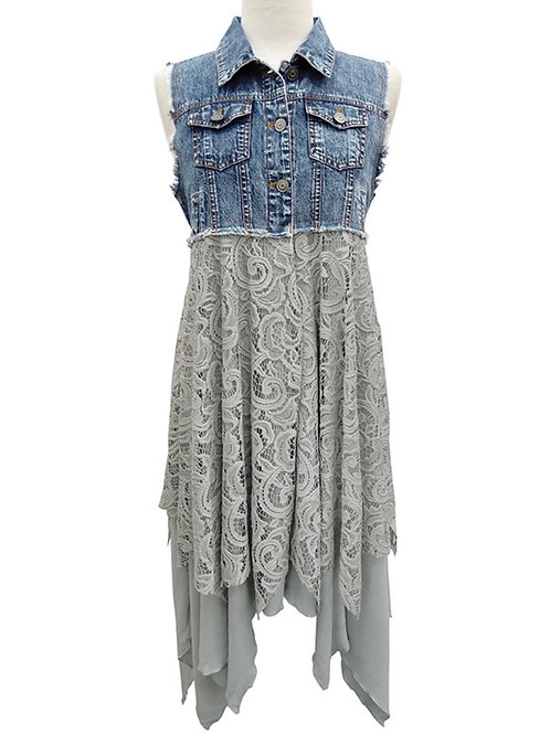Yahada Denim Vest With Lace