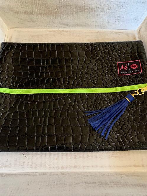 Makeup Junkie Bags Destash Midnight Gator Green Zipper Large