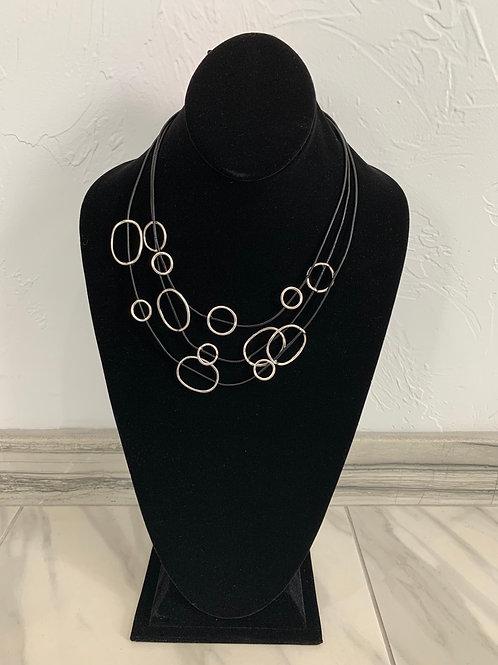 Lauren Michael Triple Black Cord Silver Rings Necklace