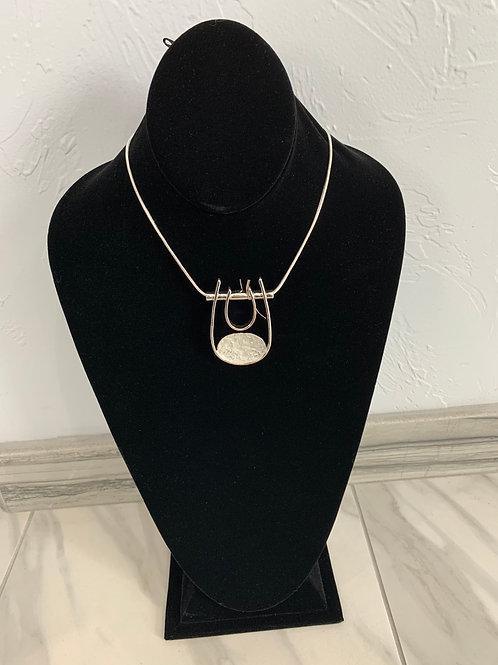 Lauren Michael Silver Loop Pendant Necklace