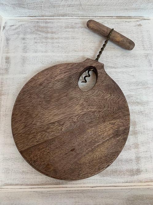 Mud Pie Small Corkscrew Board Set Round