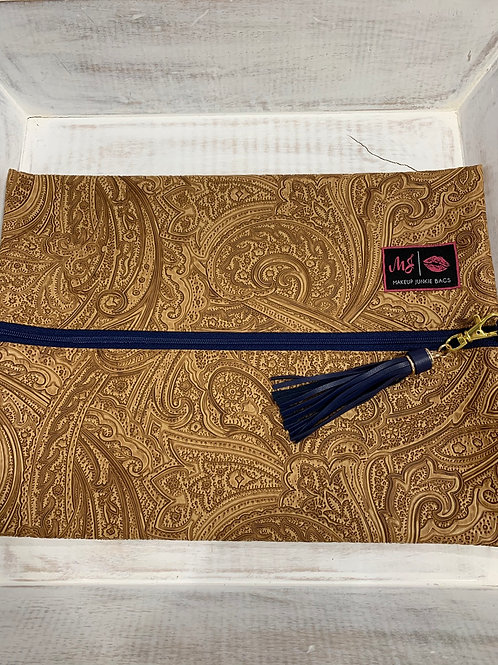 Makeup Junkie Bags Tan Paisley Navy Zipper Large