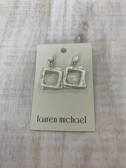 Lauren Michael Silver Square Gem Earrings