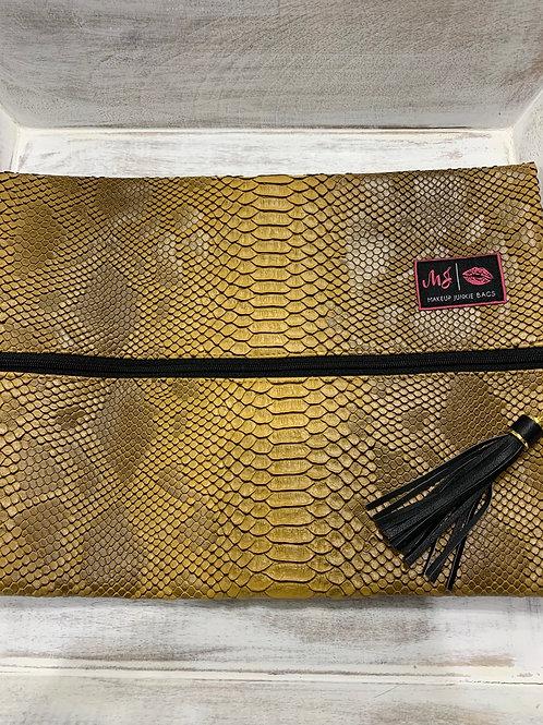 Makeup Junkie Bags New Mustard Cobra Large