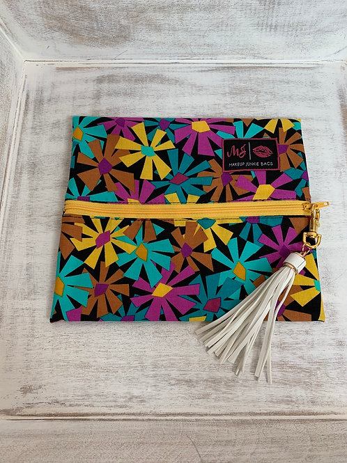 Makeup Junkie Bags Turnkey Bright Daisy Glam Stripe Small