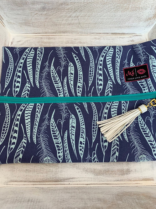 Makeup Junkie Bags Turnkey Drop Blue Feathers Large