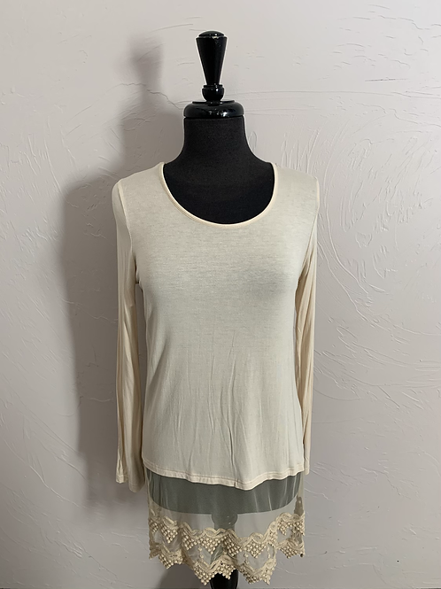 Origami Long Sleeve Cream Top with Lace Layers