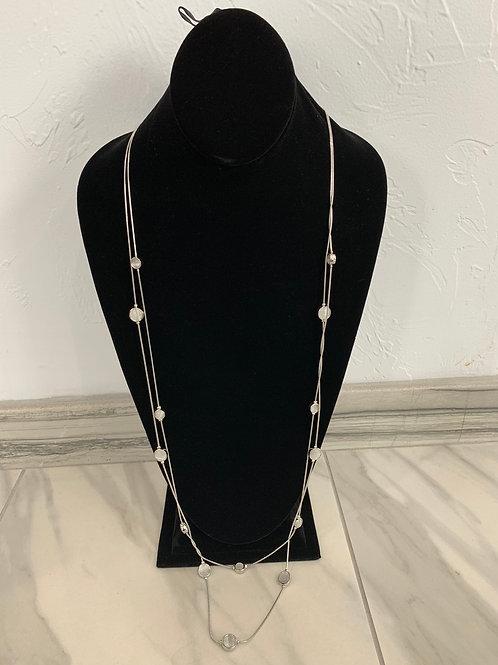 Lauren Michael Silver Beaded Long Necklace