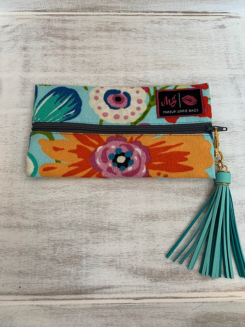Makeup Junkie Bags Turnkey Drop Blue Flowers Mini